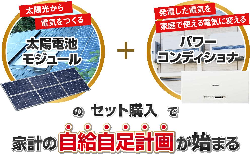 太陽電池モジュールとパワーコンディショナーのセット購入で家計の自給自足計画が可能に!
